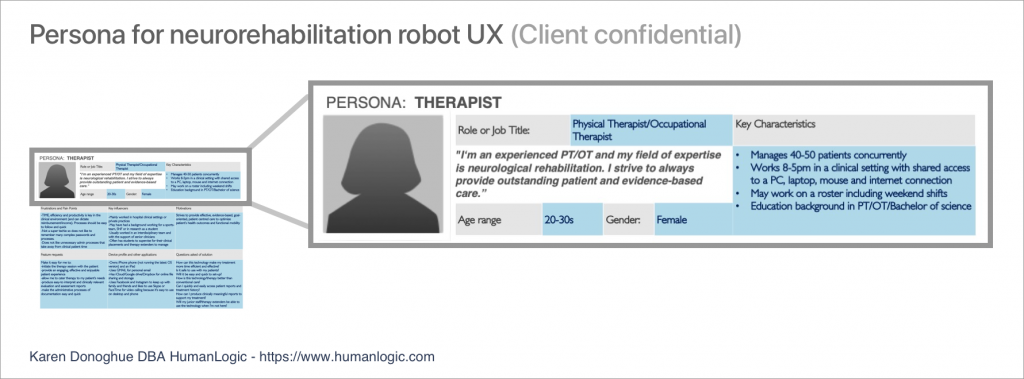 Example of Therapist persona resulting from user research collaboration with the Client's Product team.